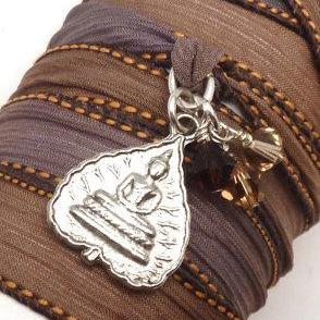 Silk Ribbon Bracelet with Buddha Pe..