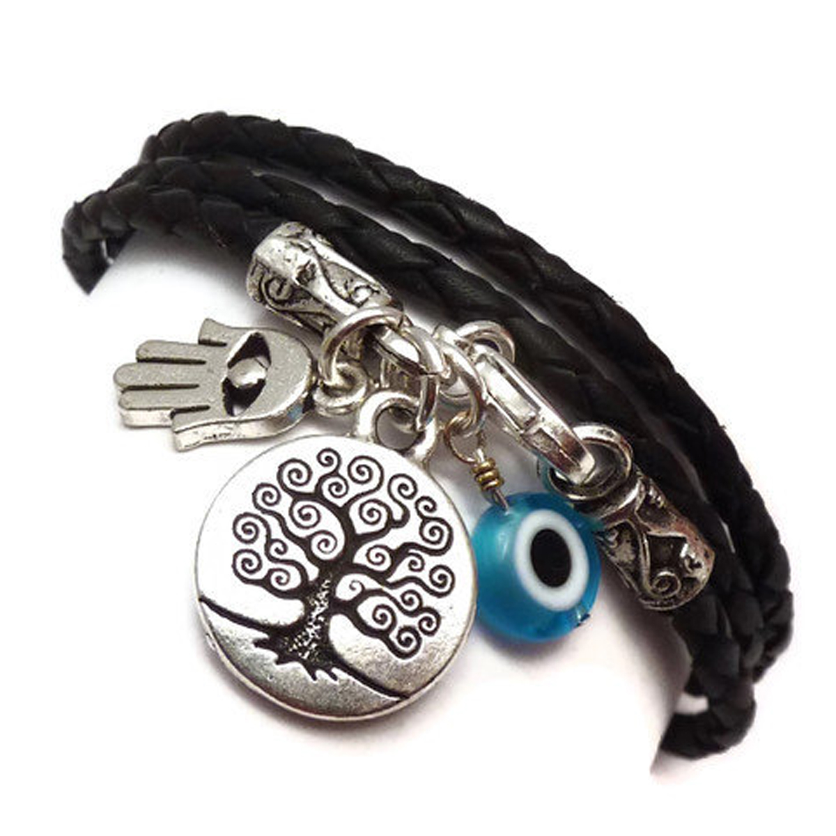 Leather Wrap Bracelet with Protection Charms