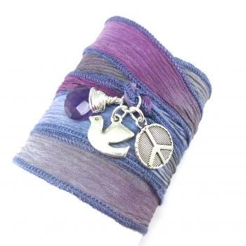 Hand Dyed Slk Ribbon Wrap Bracelet with Dove, Peace Sign, and Amethyst, yoga jewelry, wrapped wrapping bracelet, wrap around,wrist wrap