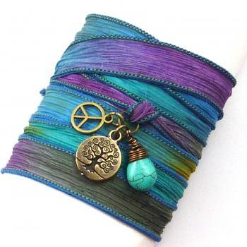 Silk Wrap Bracelet with Tree of Life, Peace Sign, and Turquoise, yoga jewelry, wrap bracelet, silk ribbon wrap bracelet